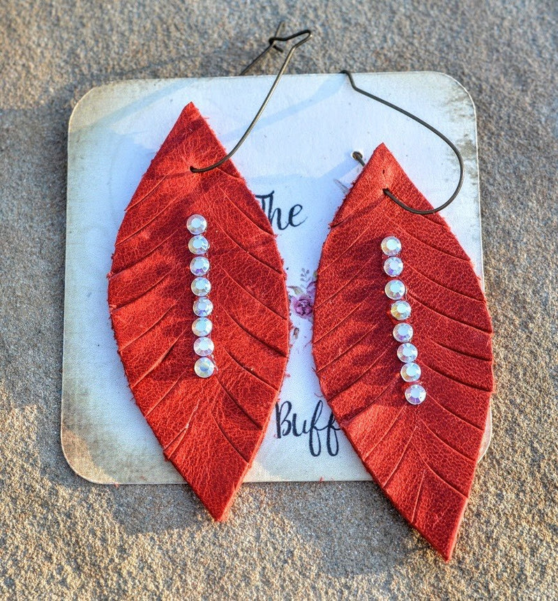 Leather Rhinestone Earrings-Rust