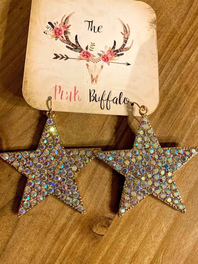 Star Rhinestone Earrings-Gold