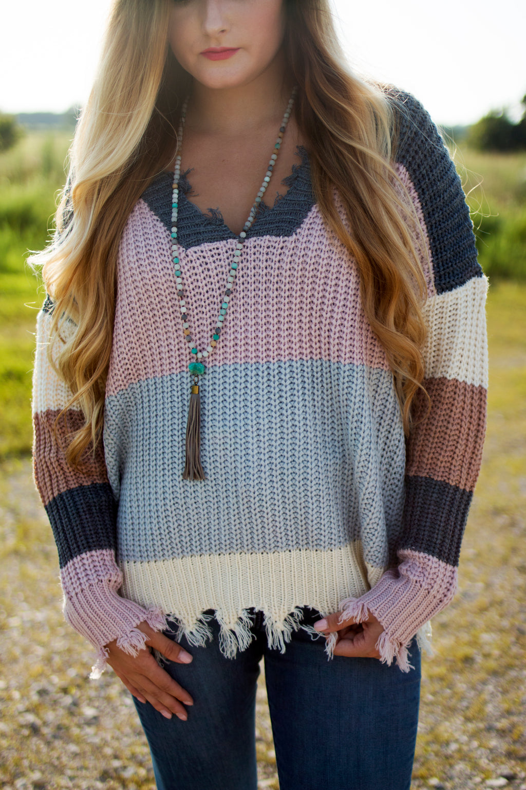 Distressed Pastel Sweater