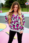 Hot Pink Leopard Sweater