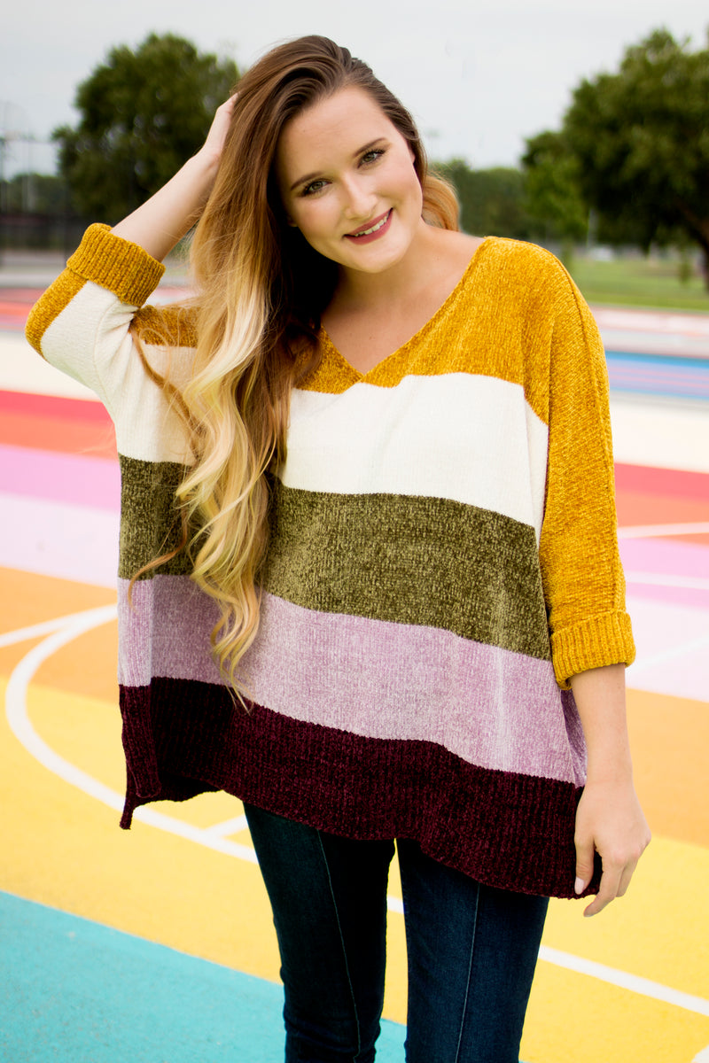 Velvet Color Blocking Sweater