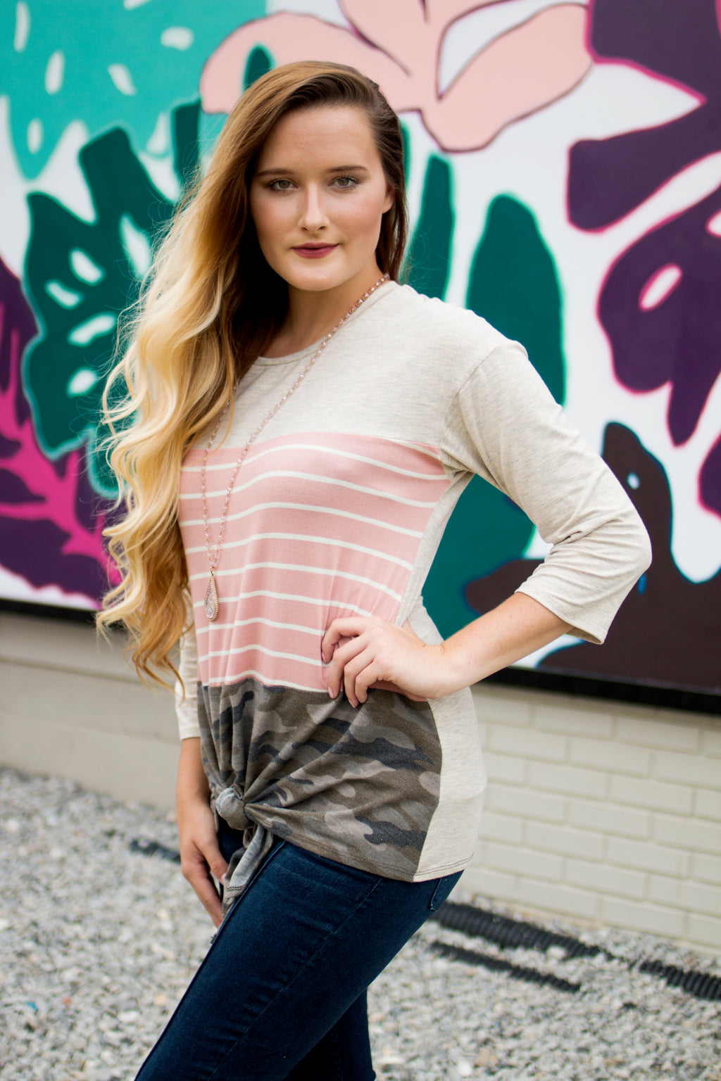 Camo & Pink Striped Knot Top