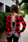 Buffalo Plaid Criss-Cross Leopard Top-PLUS