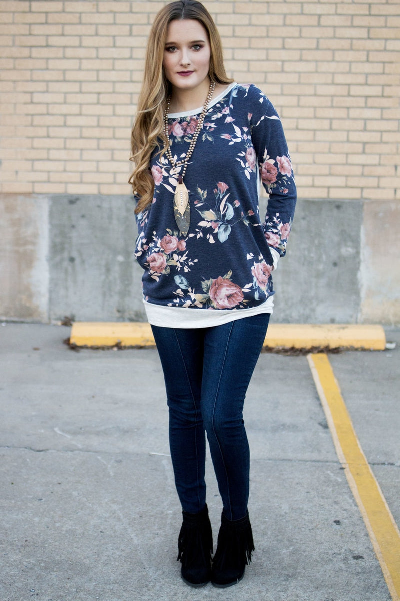 Blue Floral Top - The Pink Buffalo,LLC