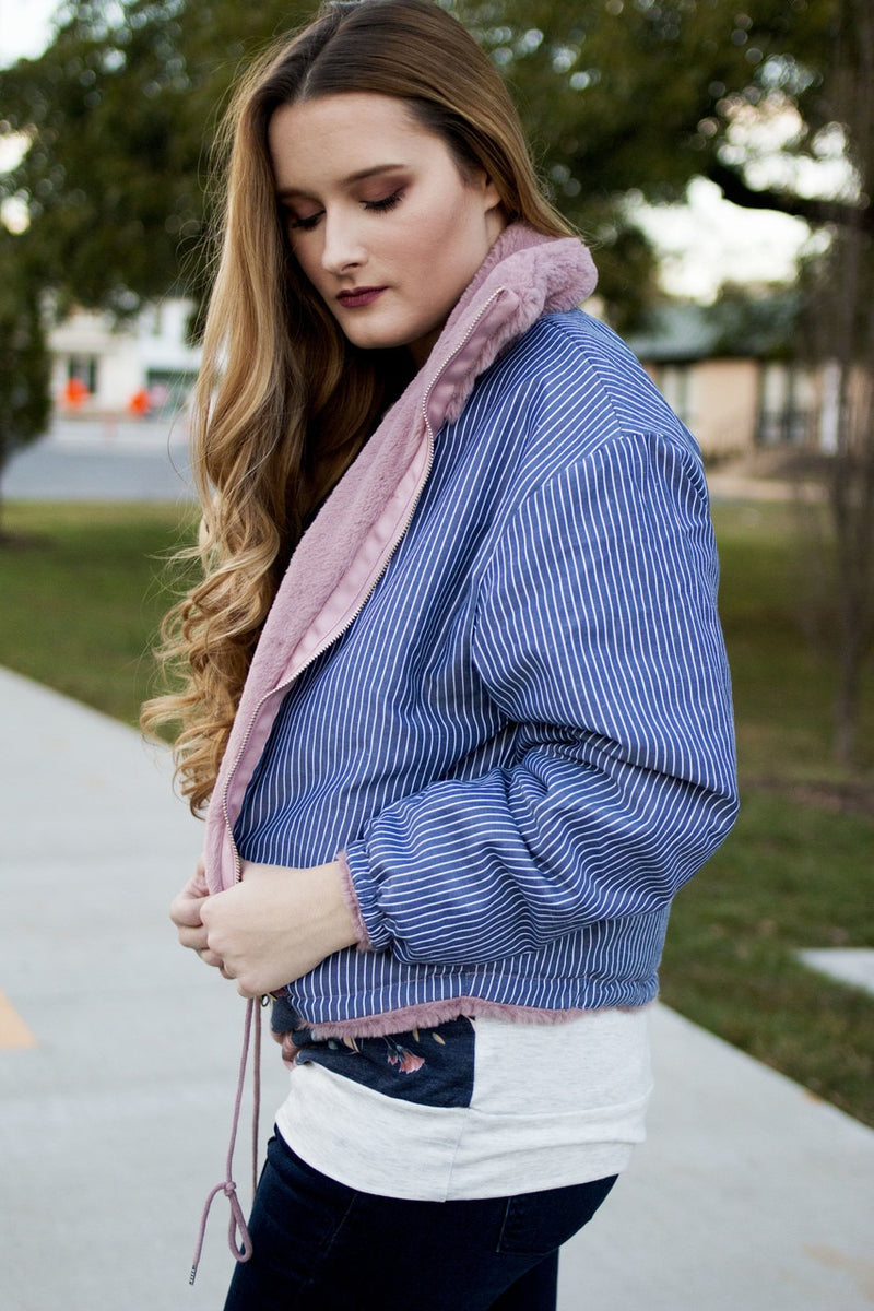 Dusty Pink Faux Fur Bomber Jacket