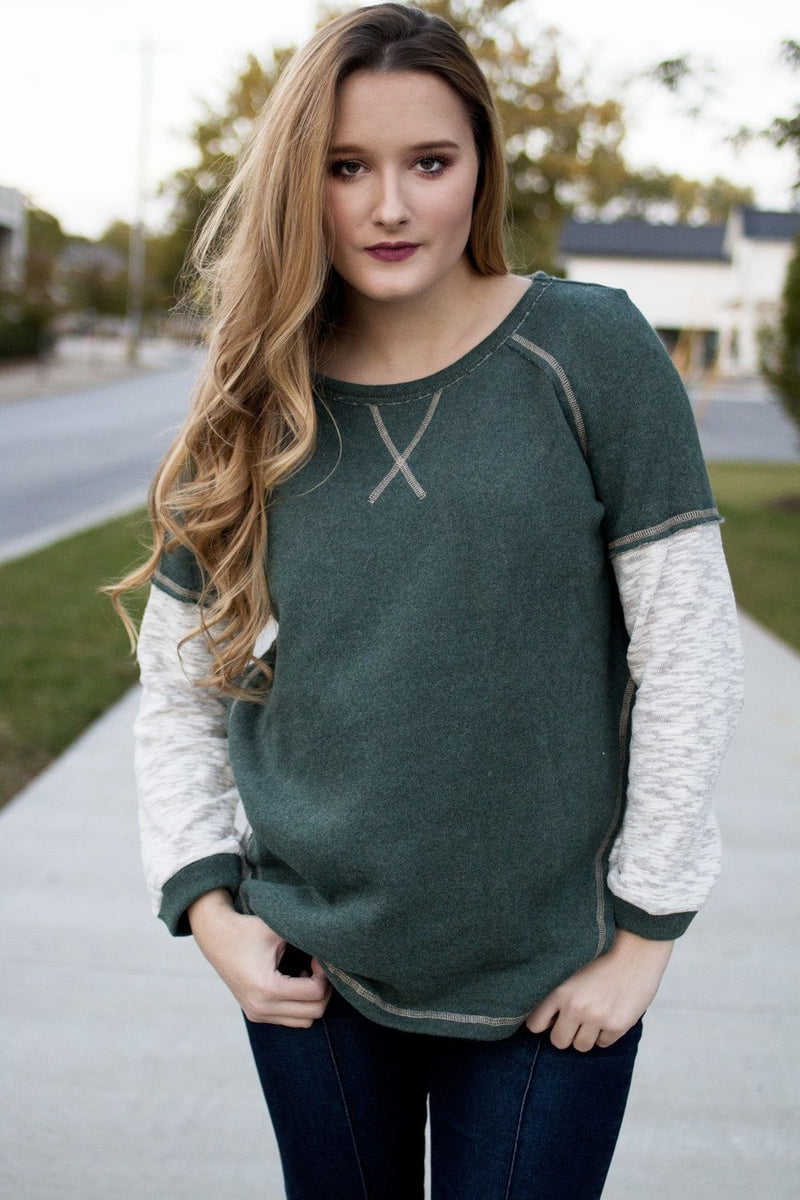 Olive Sweatshirt Top
