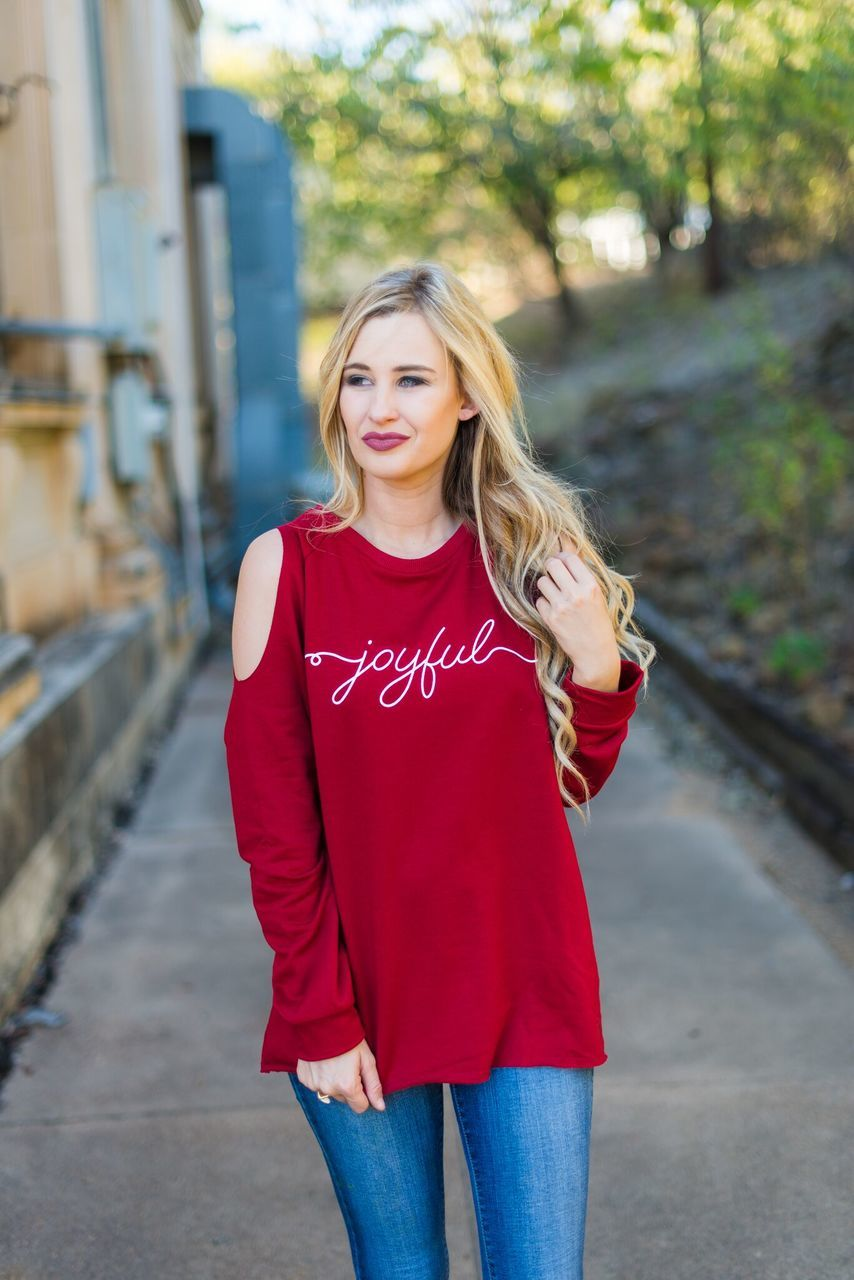 Joyful Open Shoulder Sweatshirt
