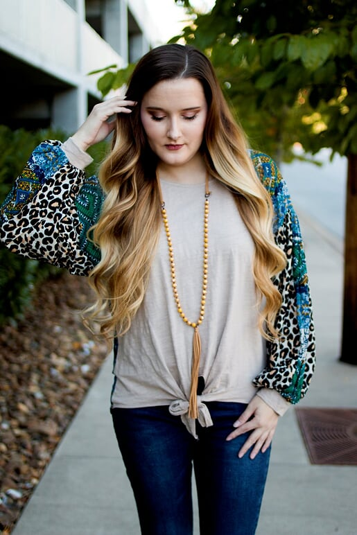 Creme Blouse with Leopard Sleeves