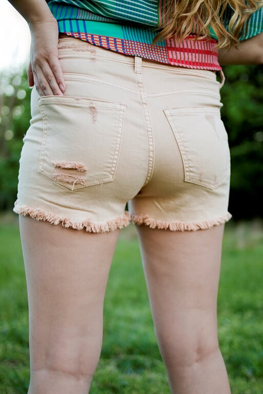 Sneak Peek Blush Distressed Shorts
