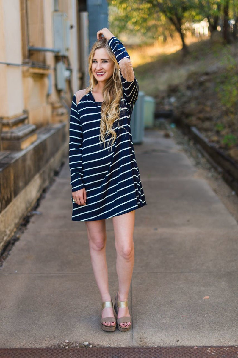 Navy Striped Dress  with Suede Detail