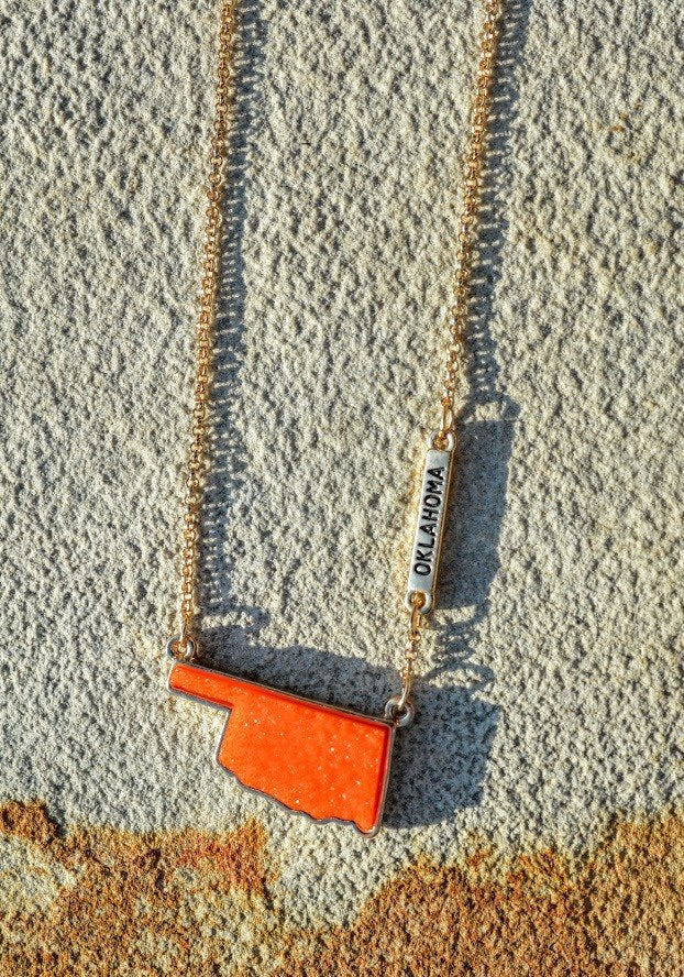 Oklahoma Druzy Necklace-Orange