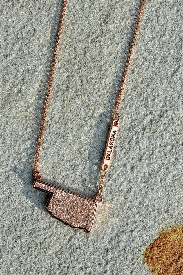 Oklahoma Druzy Necklace-Rose Gold