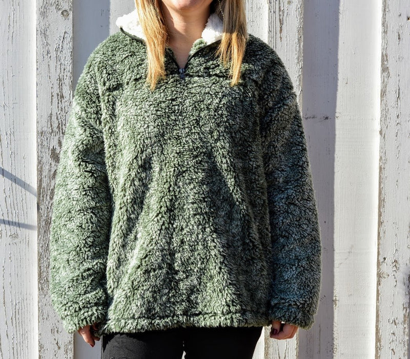 Sherpa Pullover-Olive Green