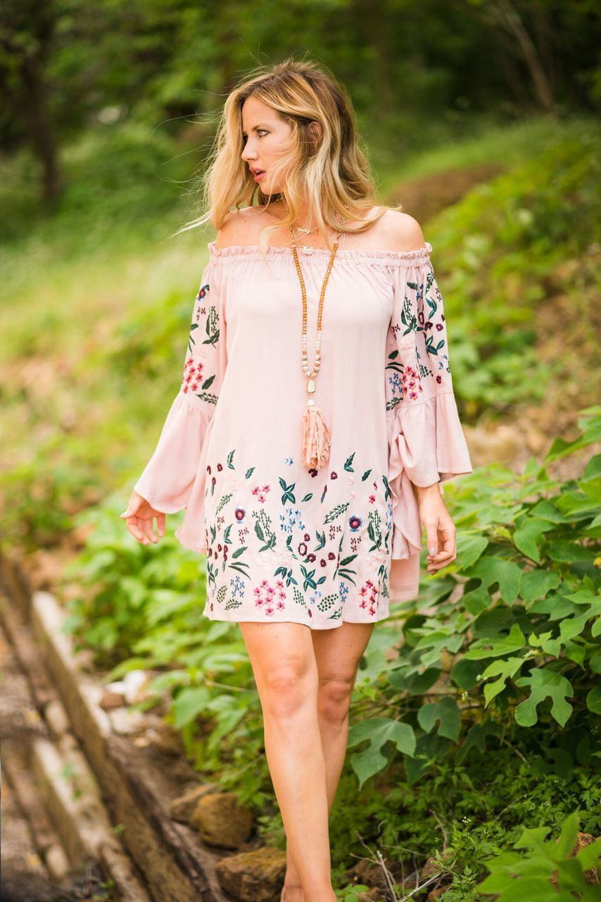 Pink Embroidered Dress with Flare Sleeve