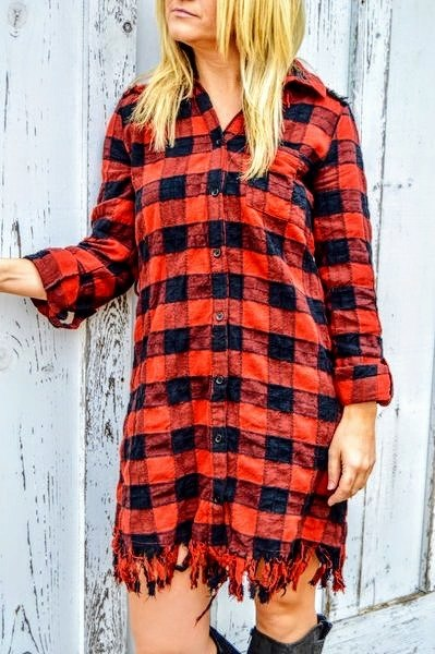 Plaid Fringe Dress