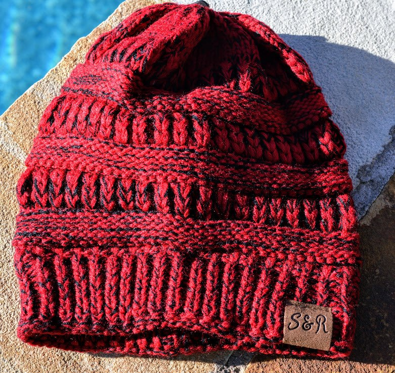 Dark Red Winter Beanie - The Pink Buffalo,LLC