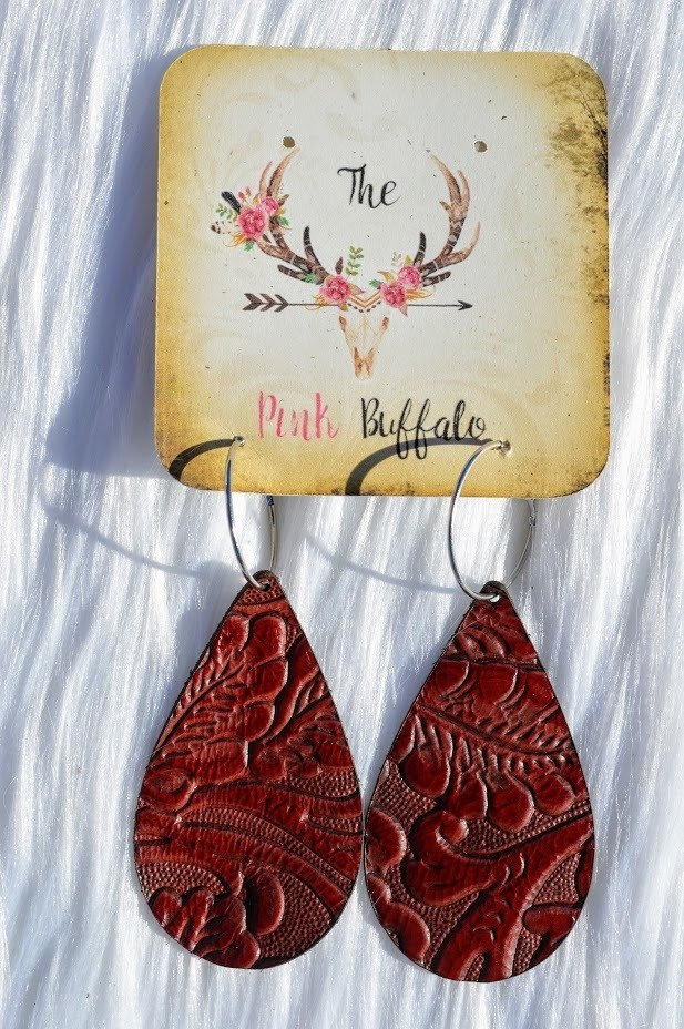 Burgundy Burnout Earrings- - The Pink Buffalo,LLC