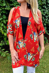 Cowskull Open Shoulder Kimono-Red - The Pink Buffalo,LLC