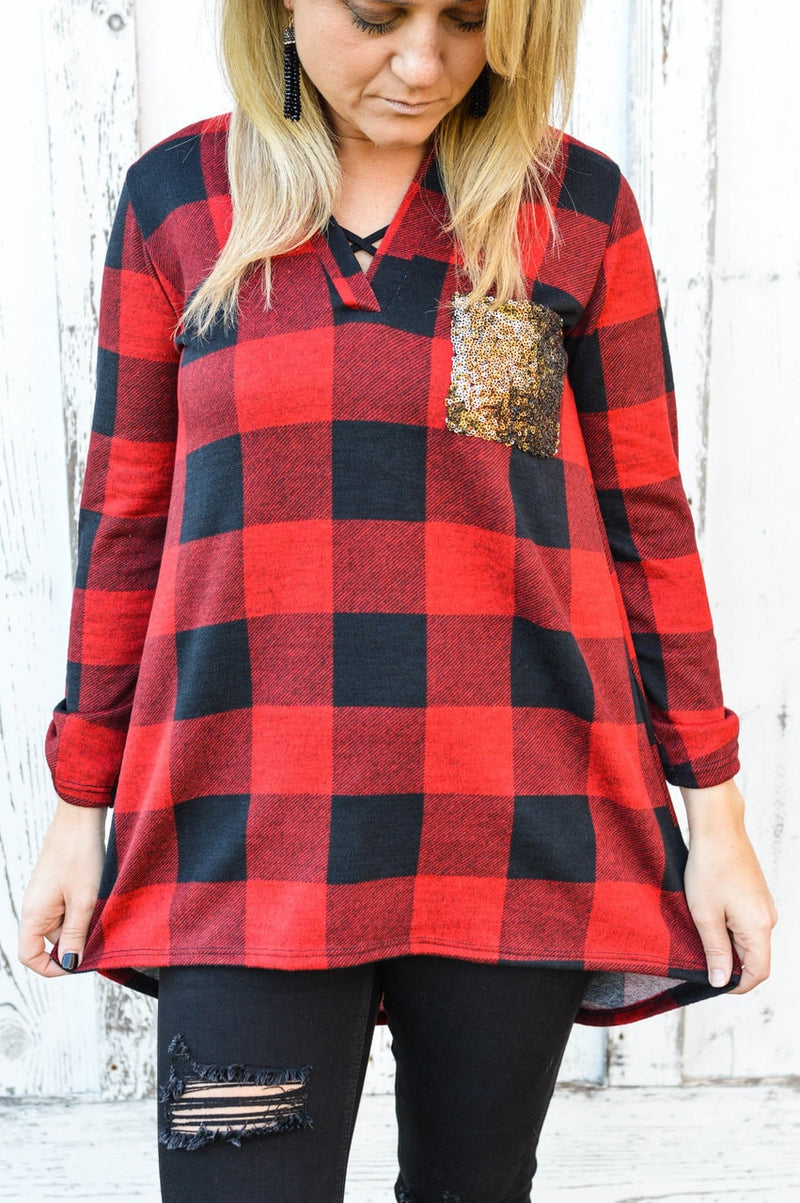 Red Plaid with Sequin Pockets