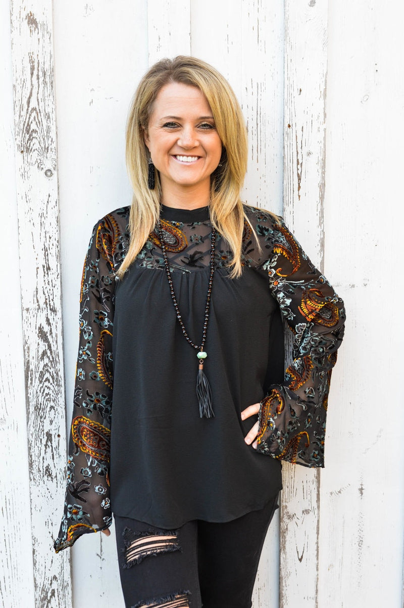 Black Velvet Top - The Pink Buffalo,LLC