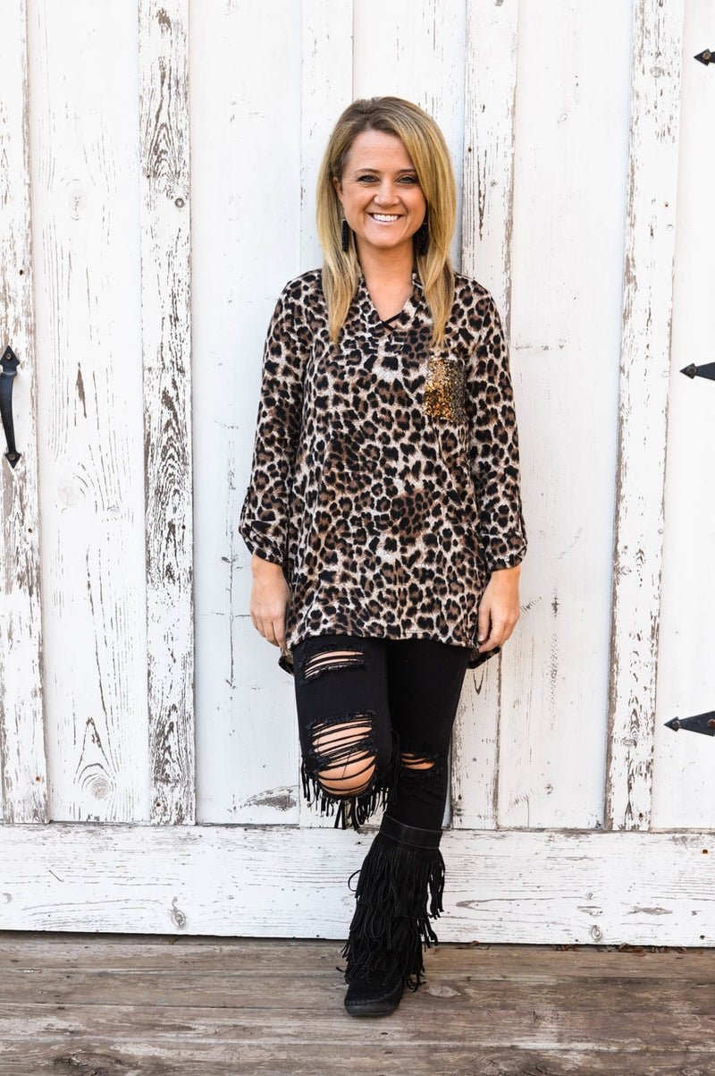 Leopard Top with Sequin Pockets