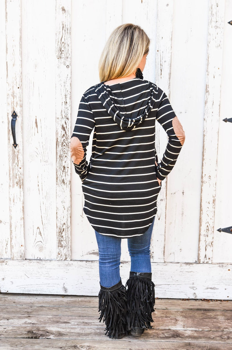 Black & White Stripe Hoodie with Elbow Patch - The Pink Buffalo,LLC