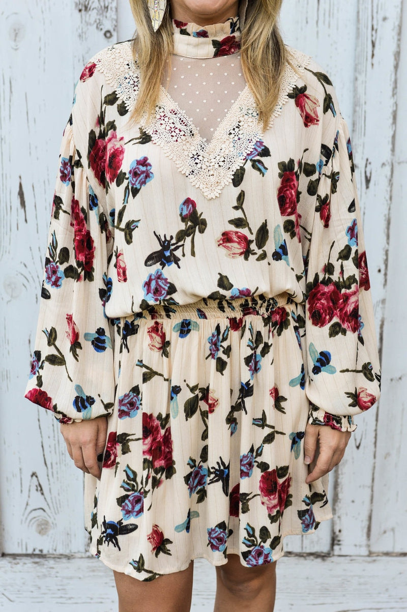 Creme Floral Dress - The Pink Buffalo,LLC