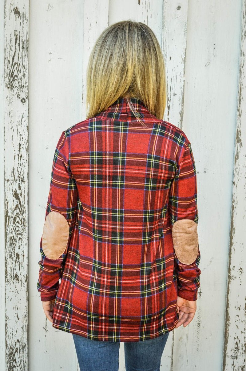 Red Plaid Cardigan with Suede Elbow Patch