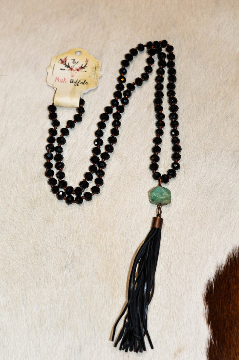 Black Beaded Tassel Necklace - The Pink Buffalo,LLC