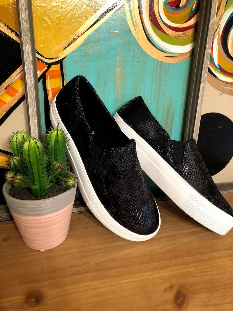 Black Snakeskin Sneakers - The Pink Buffalo,LLC