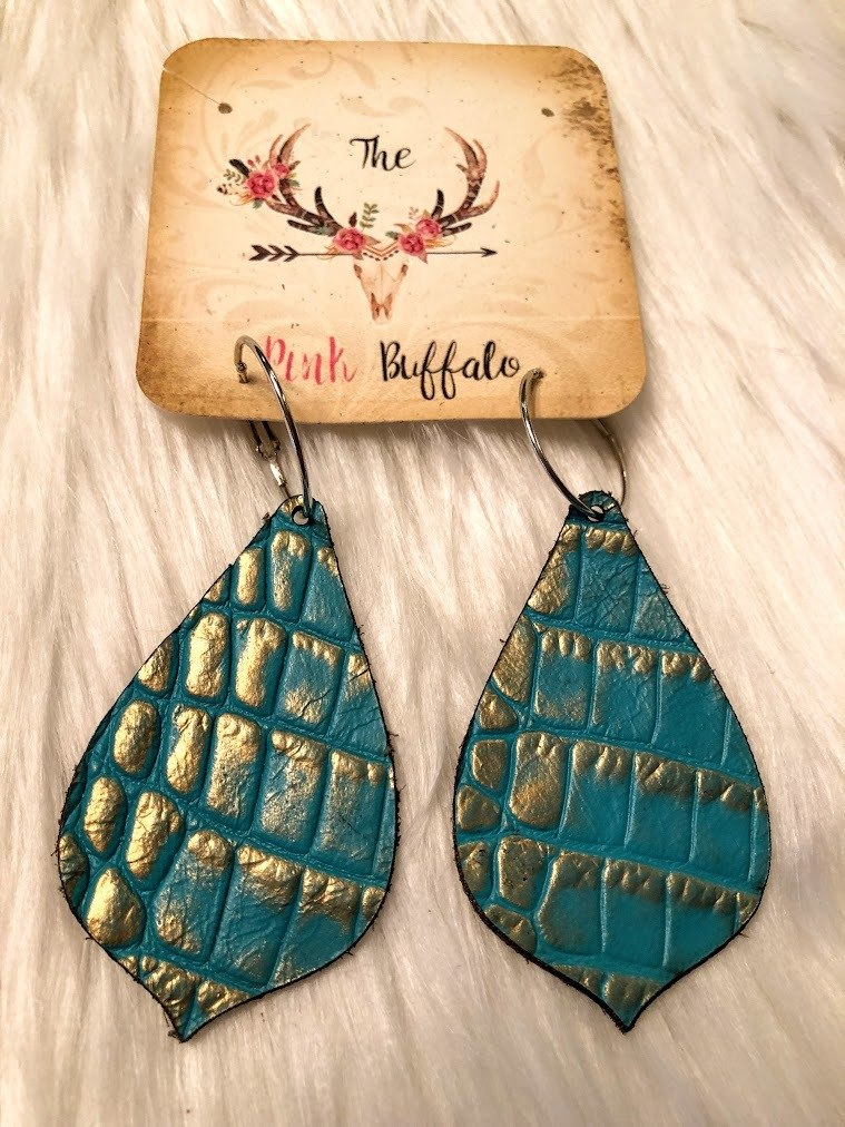Leather Turquoise Earrings
