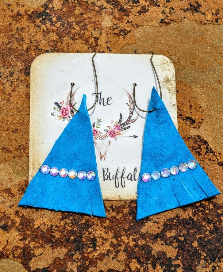Turquoise Leather Tee-Pee Earrings