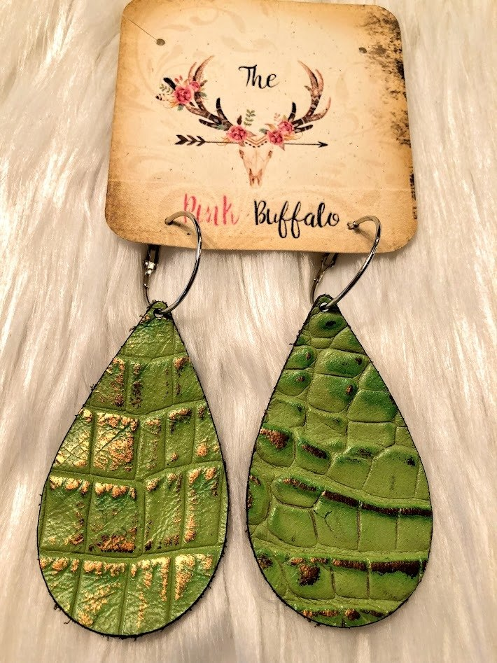 Cactus Green Leather Earrings - The Pink Buffalo,LLC