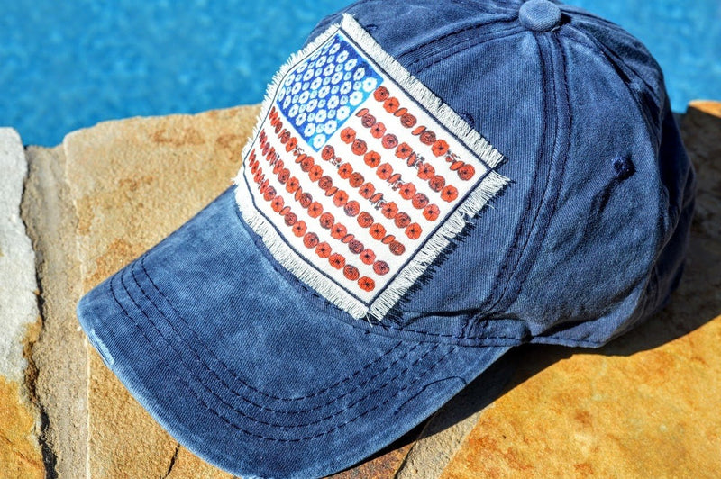 American Flag Cap (Blue) - The Pink Buffalo,LLC