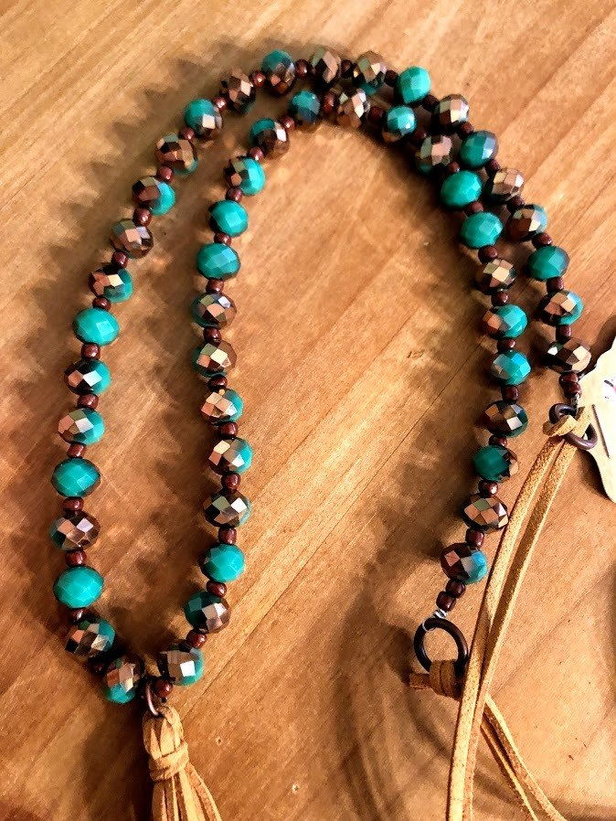 Beaded  Tassel Necklace-Aqua - The Pink Buffalo,LLC