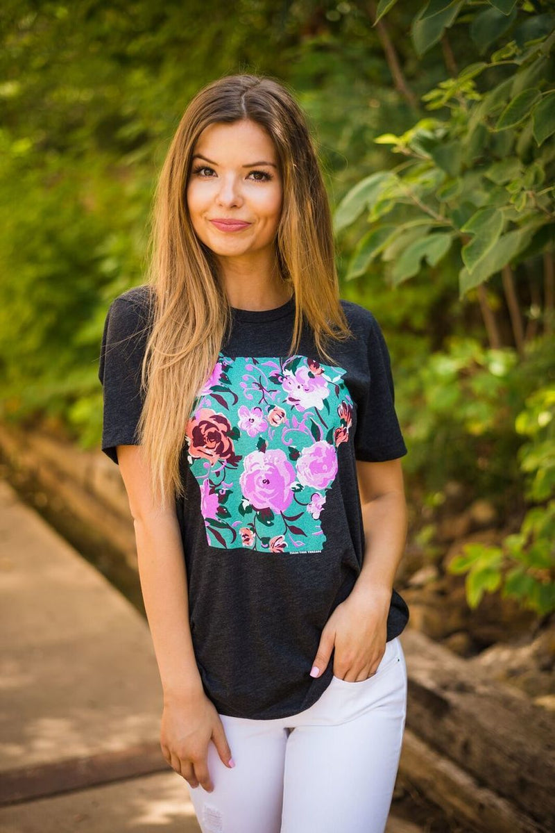 Arkansas Floral Tee - The Pink Buffalo,LLC