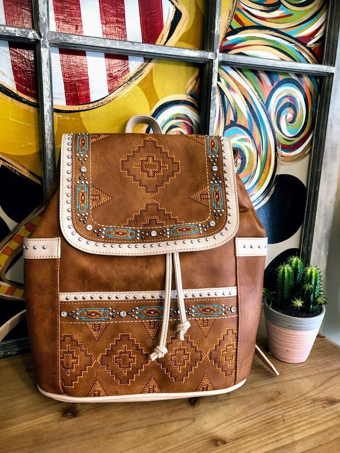 Aztec Studded Backpack-Camel - The Pink Buffalo,LLC