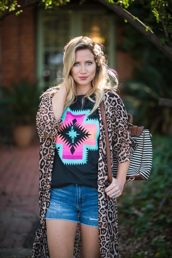 Aztec Cross Tee-Black - The Pink Buffalo,LLC