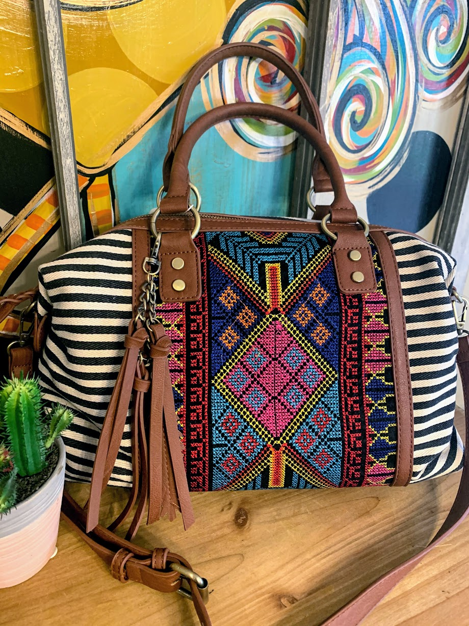 Aztec Bag with Black Stripes