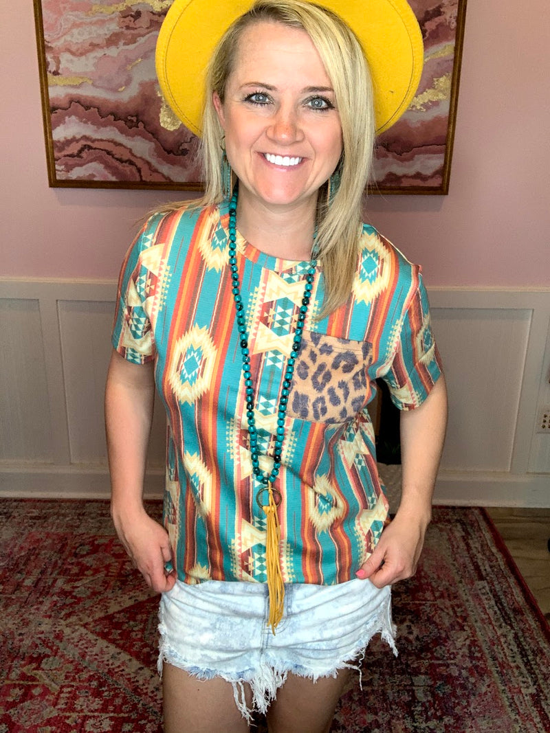 Aztec Leopard Pocket Top