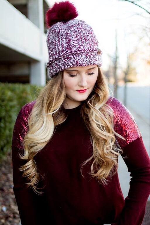 Burgundy Frosted CC Beanie