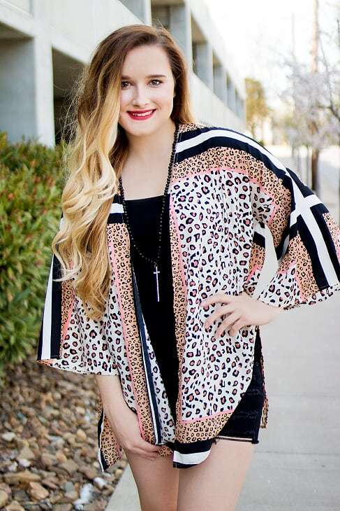Black & White Striped Leopard Kimono - The Pink Buffalo,LLC