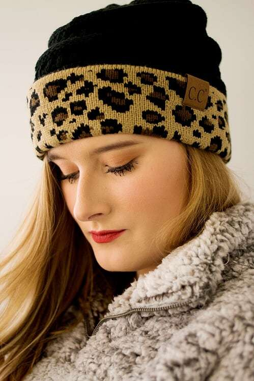 CC Beanie-Black Leopard - The Pink Buffalo,LLC