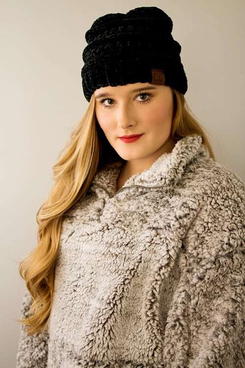 CC Velvet Beanie-Black - The Pink Buffalo,LLC