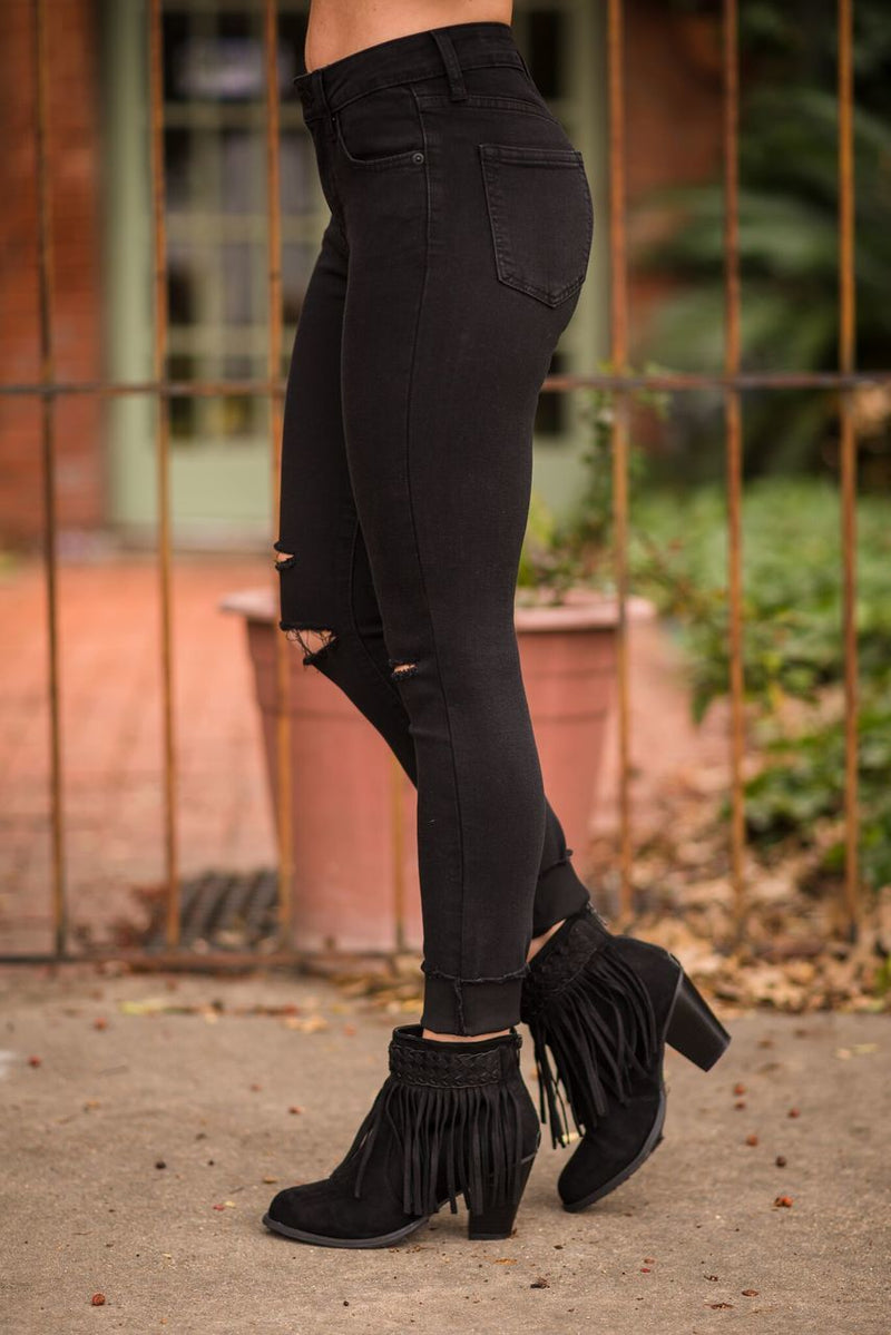 Skinny Black Jeans with Slits