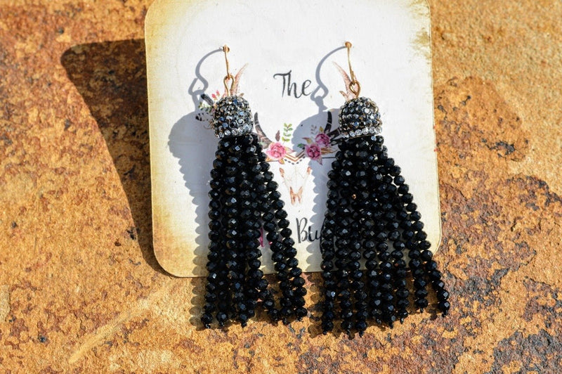 Black Tassel Earrings - The Pink Buffalo,LLC