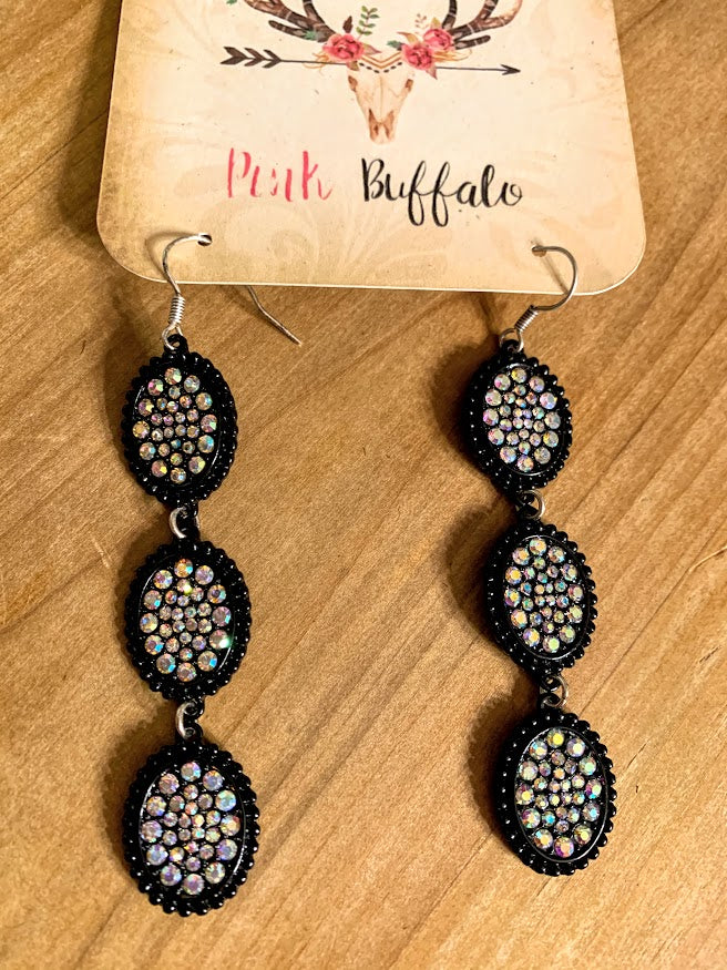 Black Oval Rhinestone Earrings