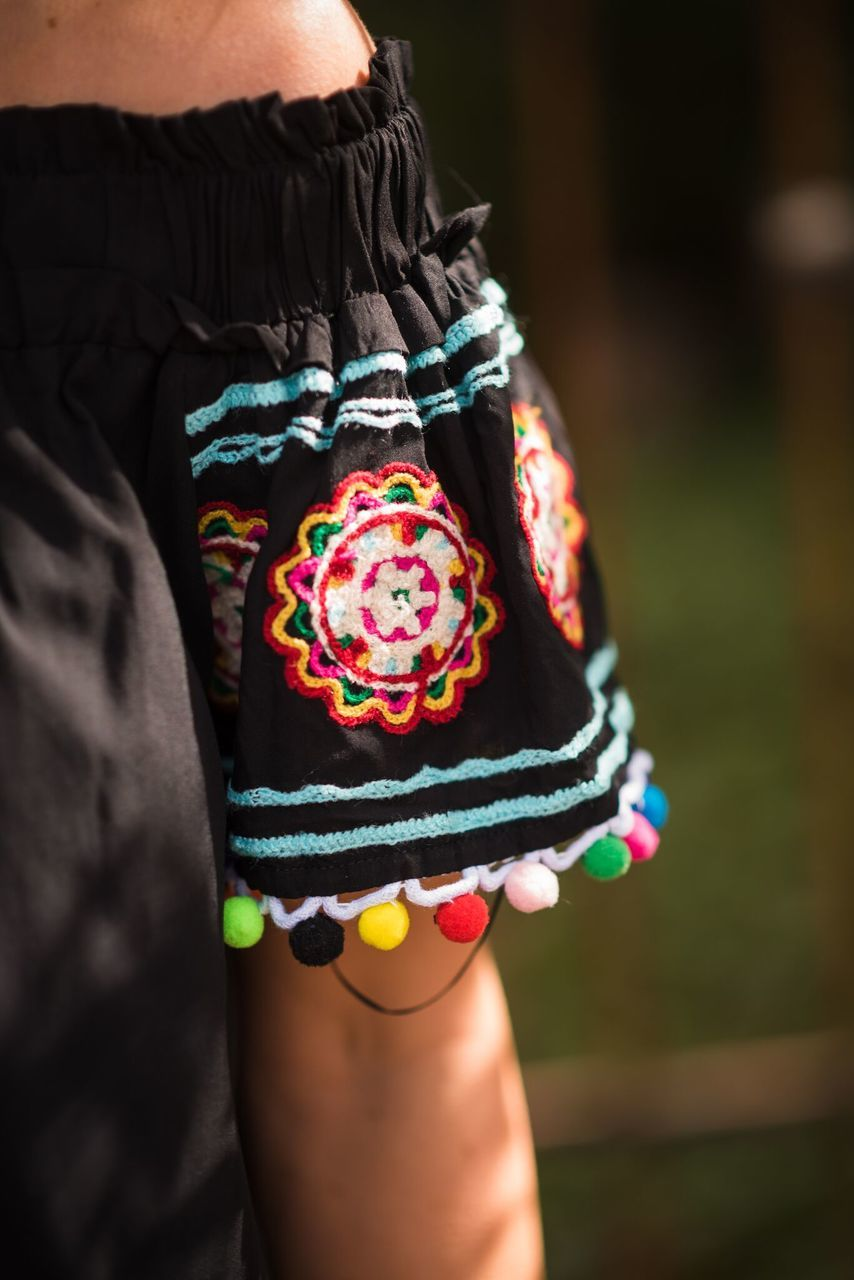 Black Fiesta Embroidered Dress-PLUS - The Pink Buffalo,LLC