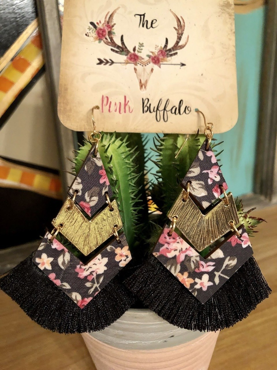 Black Aztec Fringe Earrings - The Pink Buffalo,LLC