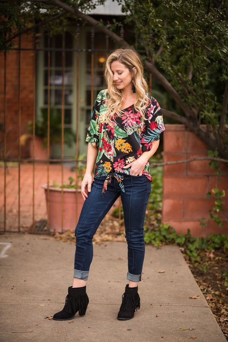 Black Hawaiian Knot Top - The Pink Buffalo,LLC